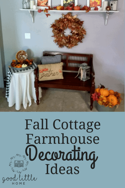 Picture of a bench with Fall pillows, a table with Fall decorations and a bucket of pumpkins.